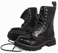 BRITISH RANGERS BOOTS BLACK LEATHER COMBAT HIGH LEG MENS ARMY 10 HOLES