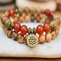 8mm Red Agate Epidote Gemstone Mala Bracelets pendant Pray Stretchy Unisex