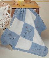 """Baby Blanket Knitting Pattern """"Pony Blocks"""" Aran  31x31""""  447"""
