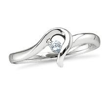 10K Oro Bianco Diamante Solitario Anello di Promessa Fascia .05ct Fidanzamento