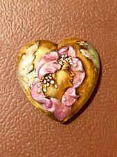Vintage Painted Brass Button Heart Shaped Nouveau Womans Head 28.5mm Valentine