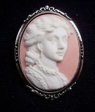 Lady on Pink Resin Cameo Brooch Cameo  60mm