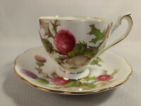 Vintage Queen Anne Red & Purple Floral Thistle Bone China Tea Cup & Saucer Set