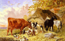 Oil painting john frederick herring horses cows ducks and a goat by a farmhouse