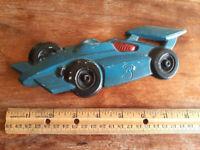 Vtg Mid Century Sexton Transportation Automotive Metal Blue Race Car Wall Art