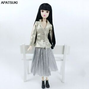 """Silver Coat Pleat Skirt Fashion Doll Clothes For 11.5"""" Doll Outfits Set 1/6 Toys"""