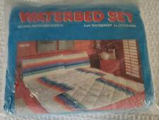 Vtg King Waterbed Sheet Set Jp Stevens Usa Timeline Rainbow Stripe New Nos 1983