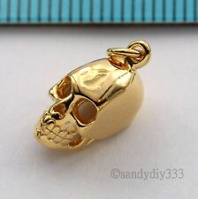 1x 18K GOLD plated STERLING SILVER SKULL HEAD CHARM PENDANT 6.1mm 11.4mm G229