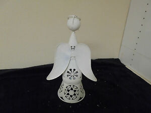 Aluminum White Frosy Angel with Wings Statue Figurine 12x4