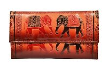 Genuine Leather Shantiniketan Elephant Clutch Womens Wallet Boho Handmade Hippie