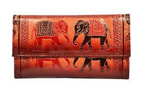 Genuine Leather Shantiniketan Elephant Clutch Womens Wallet Boho Handmade Hippie
