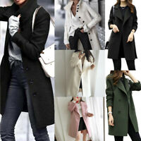 Women Autumn Winter Long Sleeve Woollen Coats Jackets Cardigan Tops Outwear UK