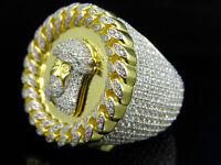 Men's Yellow Gold Finish Lab Diamond Jesus Miami Cuban Frame Eternity Ring 30MM