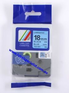 Laminated Brother P-Touch TZ (TZ2)-541compatible18mmx8m Black-On-Blue Tape