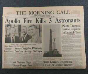 Apollo 1 Fire - Space - Grissom, White, Chaffee - 1967 Pennsylvania Newspaper