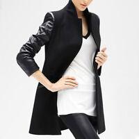 Fashion Women PU Long Leather Sleeve Jacket Slim Coat Parka Trench Windbreaker