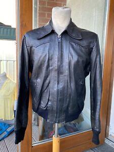 vintage leather bomber jacket 40-42 1960s 1970s Hedi skinny punk grunge M-L