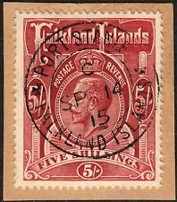 Falkland Islands 1916 KGV 5/- Deep Rose-Red on Piece VFU
