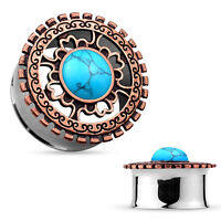 Pair of Double Flared Tunnels Ear Plugs with Opal Bronze Plated Tribal Shield