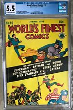 World's Finest Comics #10 (1943) CGC 5.5 -- O/w to white; Batman and Superman