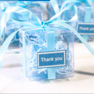 50Pcs/lot Clear Square Wedding Favor Gift Box PVC Transparent Party Candy Boxes