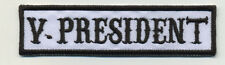 vice president patch badge car club motorcycle biker MC vest jacket  white black
