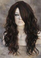 HEAT SAFE Fiber Loose WAVY Long Skin Top Brown Auburn mix Wig WBGA 4-30