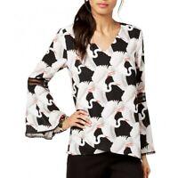 ALFANI Women's Printed Bell Sleeve V Neck Lace-insert Blouse Shirt Top TEDO