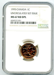 1995 CANADA CENT NGC MS67 RD ' DPL EXTREMEY RARE ' DEEP PROOF LIKE ' PENNY COIN
