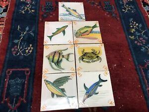 Vintage Tile Liner Yellow on Lavender Fish Pattern