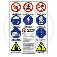cartello per cantiere edile 12 simboli 70x90 cm anti infortunistico