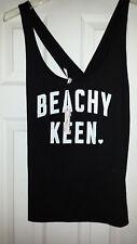 Victoria's Secret Beachy Keen Black Sleep Shirt Night Pajama Top Tank Medium