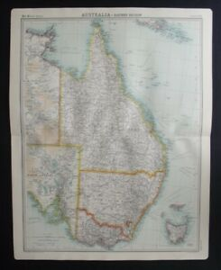 Antique Map: Australia - Eastern Section by John Bartholomew, Times Atlas, 1920