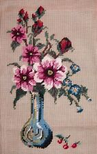 LD Vintage Flowers in a Vase Floral Bouquet Preworked Needlepoint Canvas