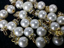 Pearl fancy golden round diamante buttons for crafting x4 bridal party suit