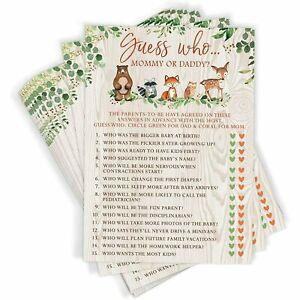 Woodland Baby Shower Guess Who Mommy or Daddy Game 50 Cards Forest Animals Deer