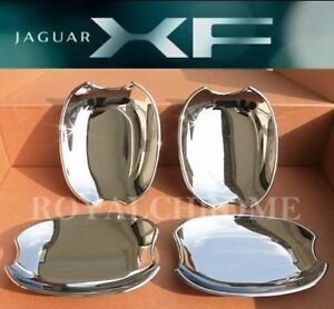 UNICUS CHROME Door Handle Cup Inserts Bucket Cover x4 JAGUAR XF 08-15 XJ 09 on