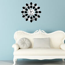 DIY Mirror Quartz Wall Clock Vinyl Sticker Home Modern Decor Black Silver