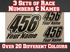 """3 conjuntos de 7"""" números de carrera & Nombre Pegatinas de Vinilo Mx Motocross Pista Bici T18"""