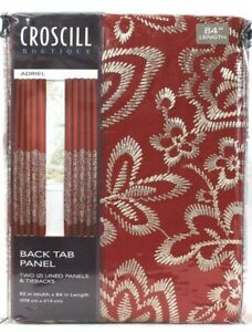 1 Pack Croscill Boutique Adriel 82 In X 84 In Red 2 Back Tab Panels & Tiebacks