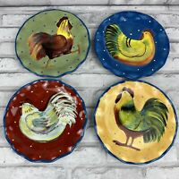 """Susan Wingets Salad Plates Chicken Set of 4 8"""" Rippled Edge Certified Int."""
