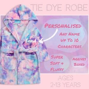 Personalised Kids Girls Tie Die Soft Comfortable Warm Cosy Dressing Gown Robe