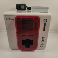 Evolis Zenius Classic Fire Red Single-Sided ID Card Printer- Nice Unit!!!