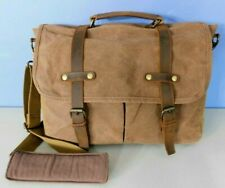 NEWHEY BROWN CANVAS & LEATHER ATTACHE, MESSENGER BAG WITH ADJ, REMOVABLE STRAP