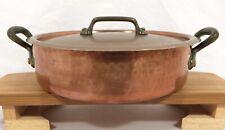E. Dehillerin Stock Pot Pan w/ Lid Hammered Copper Riveted Handles Paris STAMPED