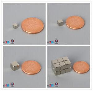 "N52 1/8"" 3/16"" 1/4"" Cube Magnets Multiple Size Rare Earth Neodymium Block"