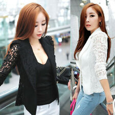 Women Lady Slim Suit Blazer Coat Lace Crochet Jacket Cardigan Blouse Outwear UK