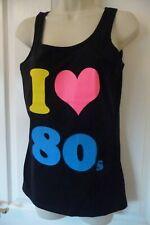 100% COTTON - I LOVE 80s Ladies Vest top -  UK SIZE 10 - BLACK Neon  - BRAND NEW
