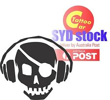 MUSIC SKULL earphone car laptop DIY sticker decal design multi color 20cm