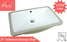 24-Inch White Ceramic Rectangular Shape Bathroom Vanity Undermount Sink
